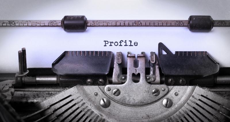 skrivmaskin som skriver profil
